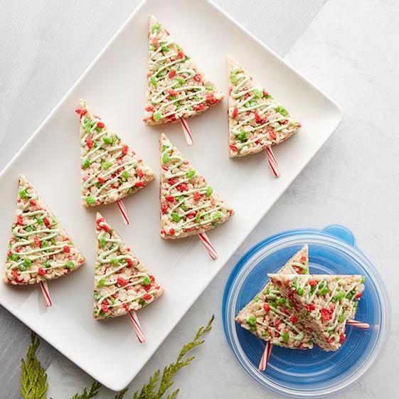 how to make christmas tree rice krispie treats
